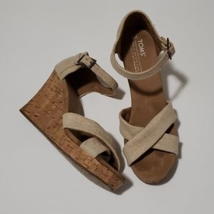 TOMS | Canvas/Cork Buckle Wedge | Size 9